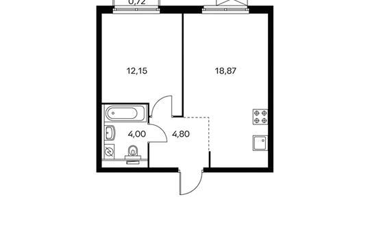 1-комнатная квартира, 40.1 м<sup>2</sup>, 13 этаж