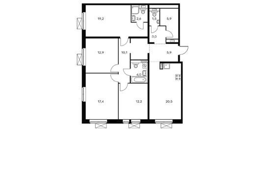 4-комнатная квартира, 115.2 м<sup>2</sup>, 3 этаж