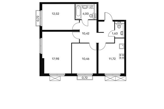 3-комнатная квартира, 69.1 м<sup>2</sup>, 11 этаж
