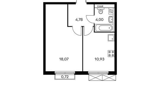 1-комнатная квартира, 38 м<sup>2</sup>, 20 этаж