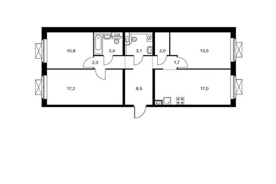 3-комнатная квартира, 79.7 м<sup>2</sup>, 17 этаж