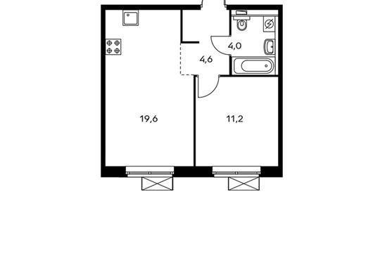 1-комнатная квартира, 39.4 м<sup>2</sup>, 14 этаж