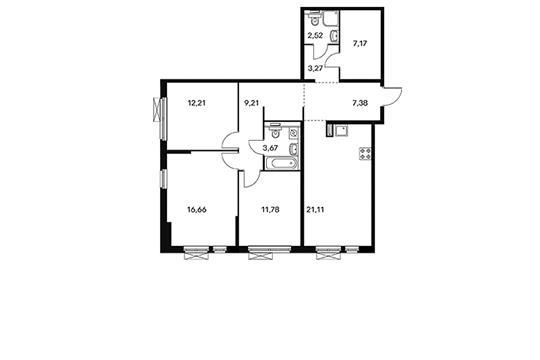 3-комнатная квартира, 94.98 м<sup>2</sup>, 3 этаж