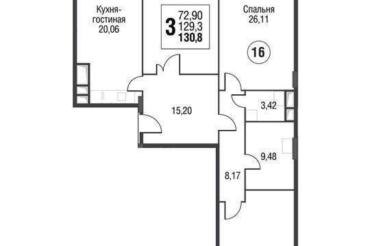 3-комнатная квартира, 131.7 м<sup>2</sup>, 5 этаж