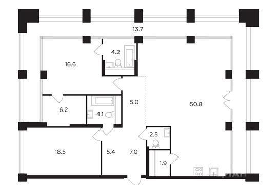 2-комнатная квартира, 135.89 м<sup>2</sup>, 18 этаж