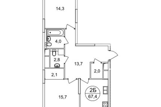 2-комнатная квартира, 67.4 м<sup>2</sup>, 9 этаж