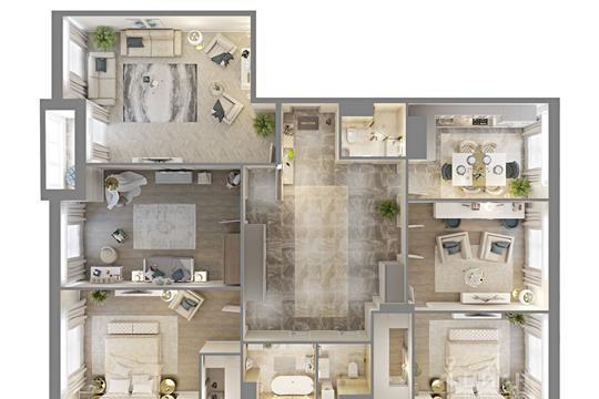 Квартира свободной планировки, 193 м<sup>2</sup>, 20 этаж