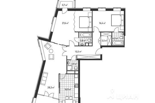 3-комнатная квартира, 121 м<sup>2</sup>, 4 этаж