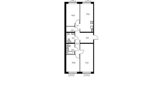 3-комнатная квартира, 79.7 м<sup>2</sup>, 18 этаж