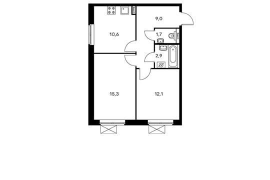 2-комнатная квартира, 51.5 м<sup>2</sup>, 19 этаж