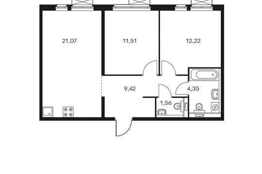 2-комнатная квартира, 60.12 м<sup>2</sup>, 5 этаж