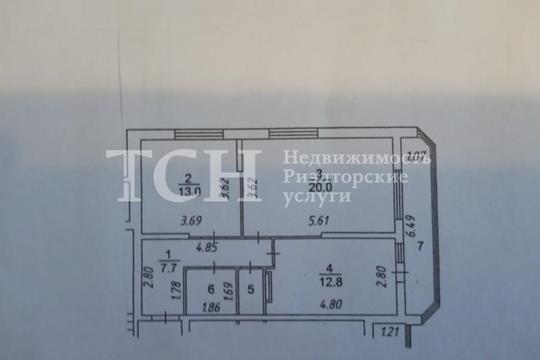 2-комнатная квартира, 61.2 м<sup>2</sup>, 5 этаж