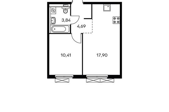 1-комнатная квартира, 36.37 м<sup>2</sup>, 11 этаж