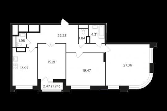 3-комн квартира, 104.58 м2, 9 этаж