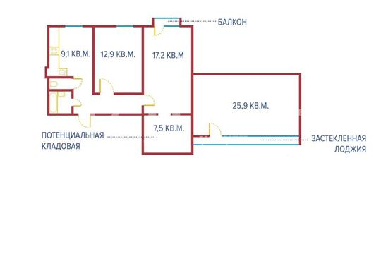3-комнатная квартира, 83.5 м<sup>2</sup>, 3 этаж