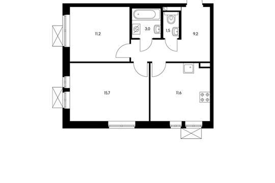 2-комнатная квартира, 52.2 м<sup>2</sup>, 18 этаж