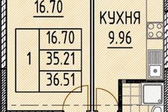 1-комн квартира, 37.12 м2, 16 этаж