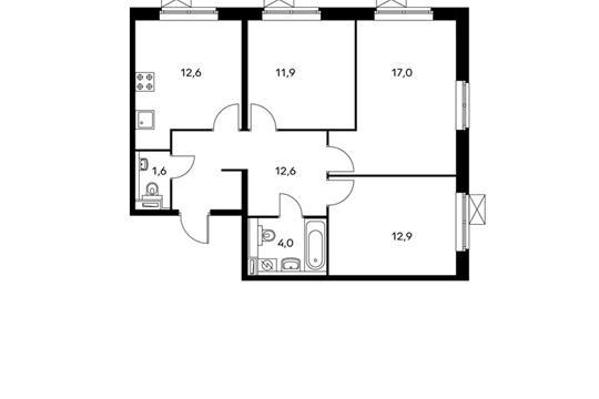 3-комнатная квартира, 72.6 м<sup>2</sup>, 24 этаж