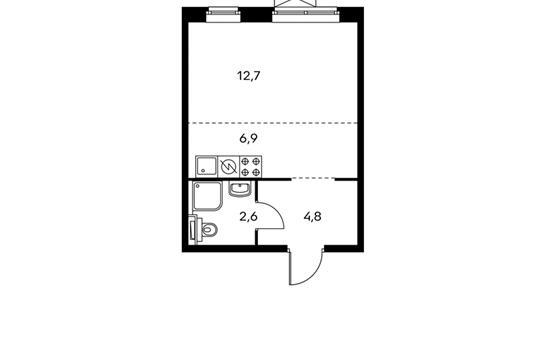 1-комн квартира, 27 м<sup>2</sup>, 10 этаж_1