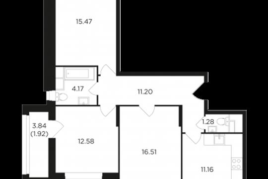 3-комнатная квартира, 74.29 м2, 12 этаж