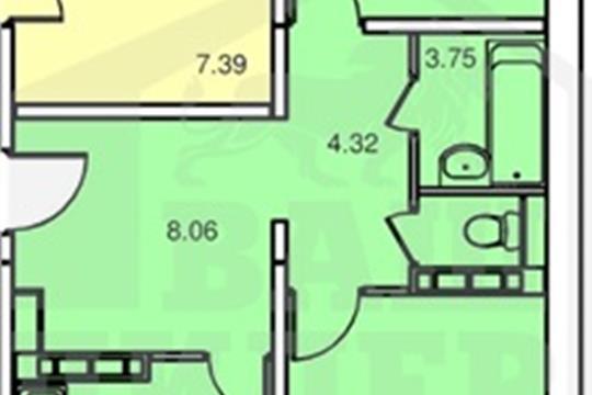 2-комнатная квартира, 61.75 м<sup>2</sup>, 6 этаж