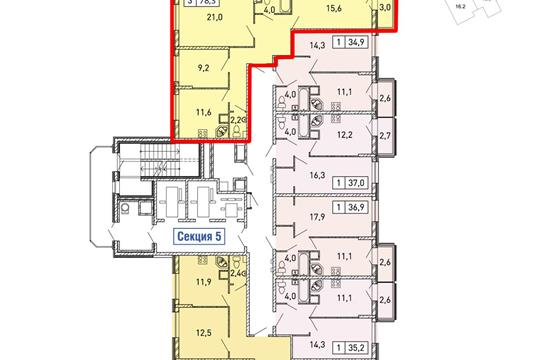 3-комнатная квартира, 78.2 м2, 6 этаж
