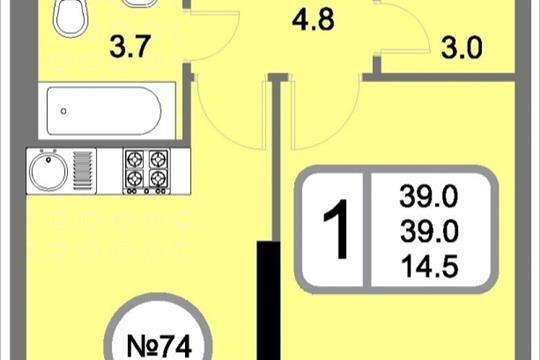 1-комнатная квартира, 39 м<sup>2</sup>, 16 этаж