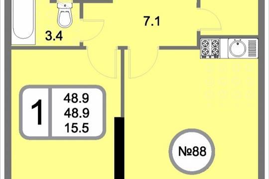 1-комнатная квартира, 48.9 м<sup>2</sup>, 19 этаж
