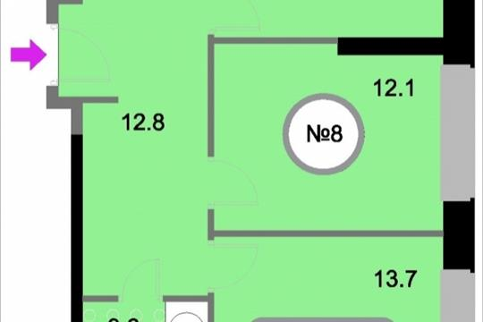 2-комнатная квартира, 58.2 м<sup>2</sup>, 2 этаж