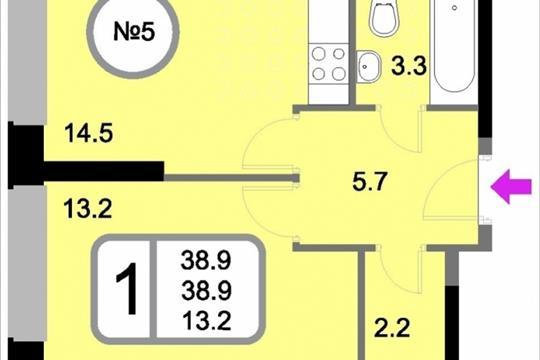 1-комн квартира, 38.9 м<sup>2</sup>, 2 этаж_1