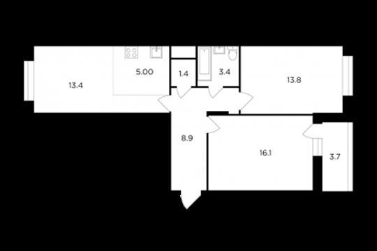 3-комнатная квартира, 63.9 м2, 15 этаж