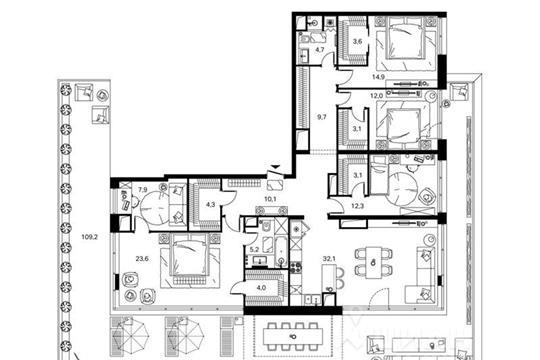4-комнатная квартира, 150.6 м<sup>2</sup>, 10 этаж