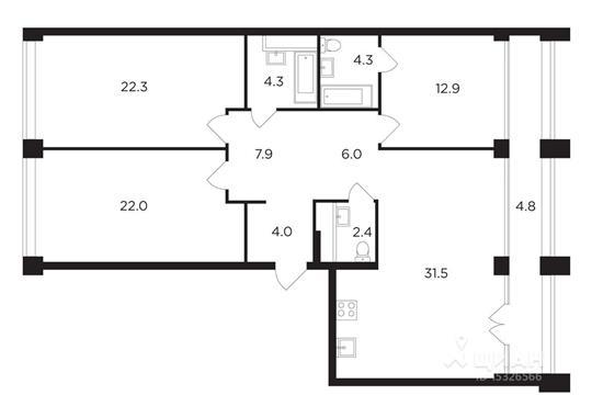 3-комнатная квартира, 122.44 м<sup>2</sup>, 18 этаж