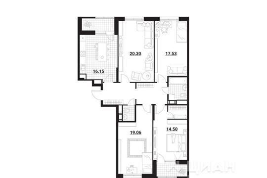 4-комнатная квартира, 113.15 м<sup>2</sup>, 2 этаж
