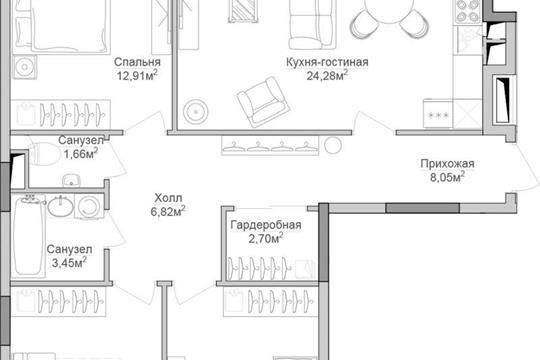 3-комнатная квартира, 94.23 м<sup>2</sup>, 11 этаж