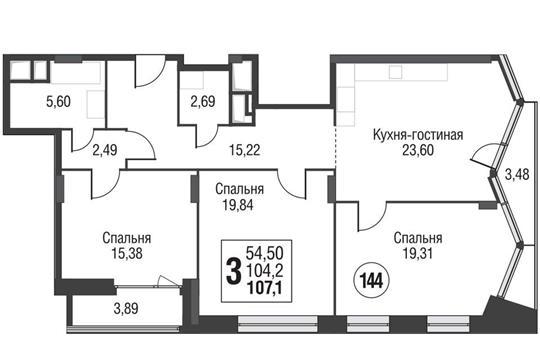 3-комнатная квартира, 107.4 м<sup>2</sup>, 9 этаж