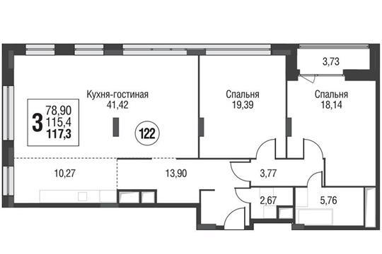 3-комнатная квартира, 116.9 м<sup>2</sup>, 6 этаж