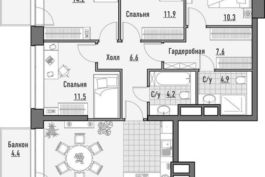 4-комнатная квартира, 131.11 м<sup>2</sup>, 14 этаж