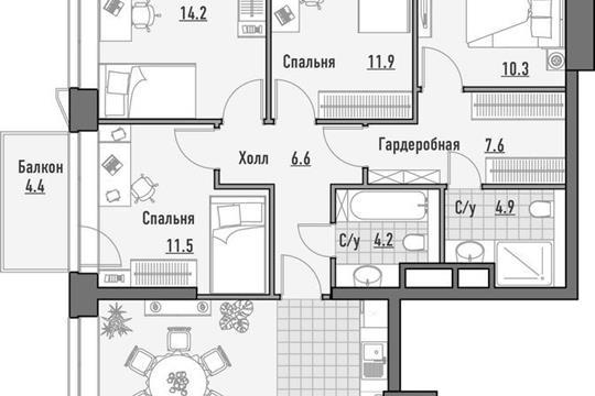 4-комнатная квартира, 129.67 м<sup>2</sup>, 15 этаж