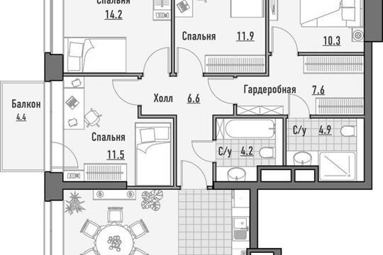 4-комнатная квартира, 129.88 м<sup>2</sup>, 18 этаж
