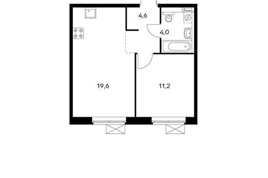 1-комнатная квартира, 39.4 м<sup>2</sup>, 19 этаж