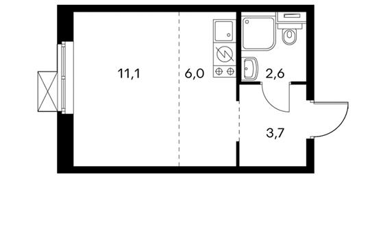 1-комнатная квартира, 23.4 м<sup>2</sup>, 23 этаж