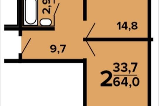 2-комнатная квартира, 64 м<sup>2</sup>, 14 этаж
