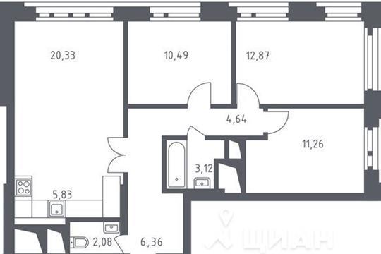 3-комнатная квартира, 76.98 м<sup>2</sup>, 32 этаж