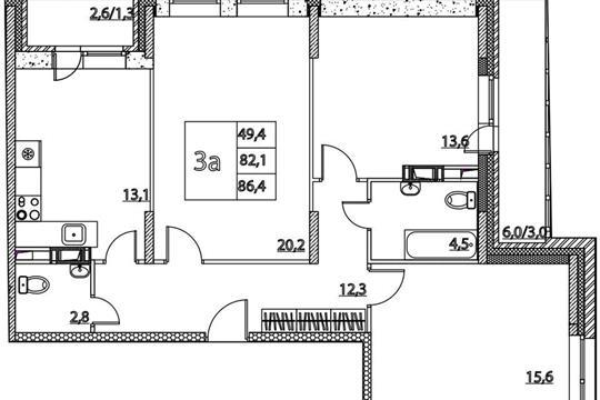3-комнатная квартира, 86.4 м<sup>2</sup>, 5 этаж