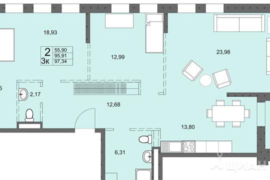 3-комнатная квартира, 95.91 м<sup>2</sup>, 5 этаж