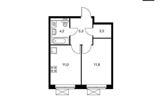 1-комн квартира, 34.5 м<sup>2</sup>, 2 этаж_1