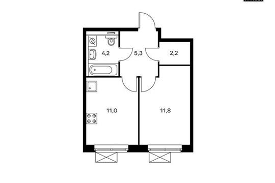 1-комнатная квартира, 34.5 м<sup>2</sup>, 2 этаж_1