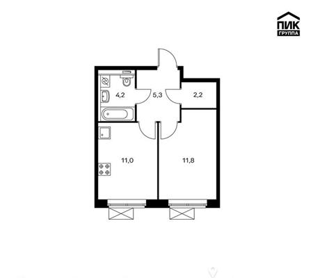 1-комн квартира, 34.5 м2, 2 этаж - фото 1