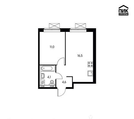 1-комнатная квартира, 36.3 м<sup>2</sup>, 15 этаж_1